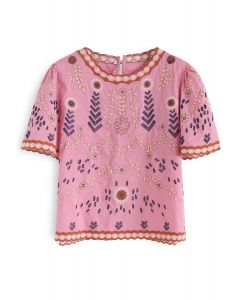 Adorable Boho Style Embroidered Top in Pink