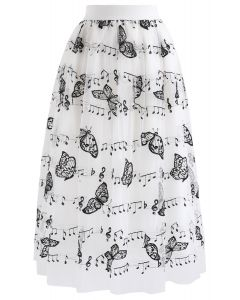 Butterfly Melody Double-Layer Mesh Tulle Skirt