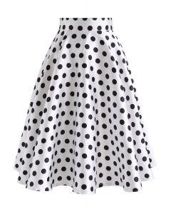 Cuteness Comeback Polka Dots A-Line Skirt in White