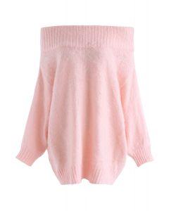 Recording Dreams Off-Shoulder Longline Sweater in Pink