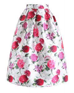 Across the Floral Land Printed Midi Skirt
