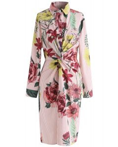 Floral Soul Twist Stripe Shirt Dress