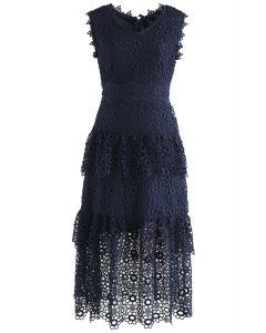 Sweeten Up Full Floral Crochet Tiered Midi Dress in Navy