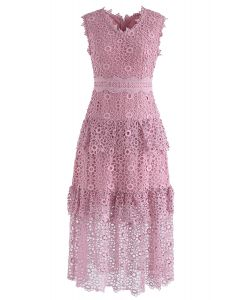 Sweeten Up Full Floral Crochet Tiered Midi Dress in Pink