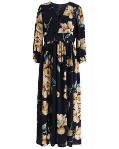 Sweet Things Floral Chiffon Maxi Dress in Navy