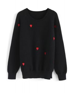 Sweet Love Spot Knit Sweater in Black