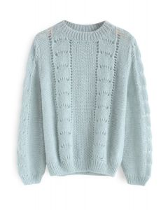 Best for Commutes Fluffy Knit Sweater in Mint