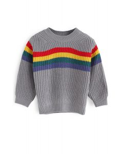 Over the Rainbow Knit Sweater in Grey For Kids