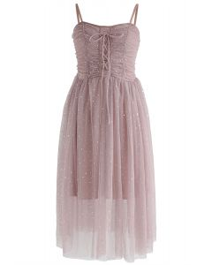Sparkling Tulle Cami Dress in Pink