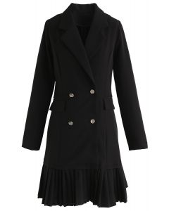 Almost Graceful Double-Breasted Coat Dress in Black