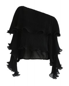 Sunny Day Perfection One Shoulder Ruffle Top in Black