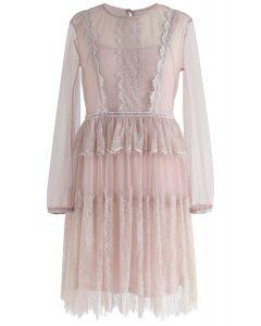Sweet Days Ruffle Lace Mesh Dress in Pink