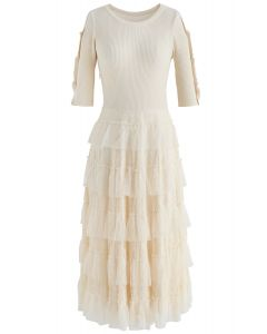 Keep Breathing Knit Lace Dress in Cream
