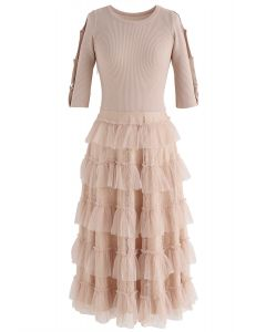 Keep Breathing Knit Lace Dress in Peach