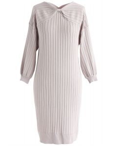 Hold You Tight Bowknot Knit Dress in Pink