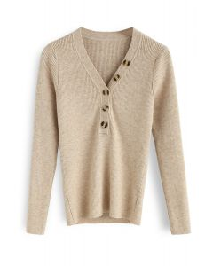 Curvy Beauty Ribbed Knit Top in Tan