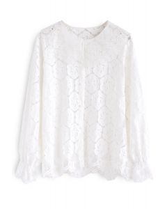 Mellow Morning Full Floral Lace Top in White