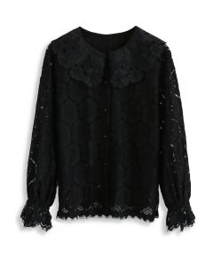 Mellow Morning Full Floral Lace Top in Black