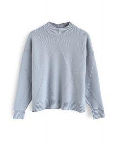 Diamond Knit Sweater in Dusty Blue