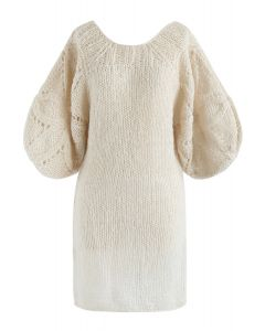 What We Dream Fluffy Hand-Knit Shift Dress with Bubble Sleeves