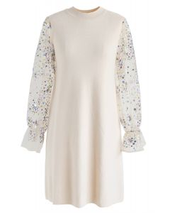 Sparkle Sequins Knit Shift Dress in Cream