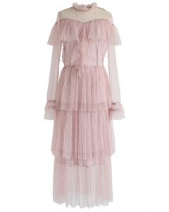 Spot On Pearls Ruffle Tiered Mesh Dress in Pink