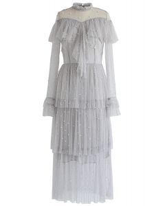 Spot On Pearls Ruffle Tiered Mesh Dress in Grey