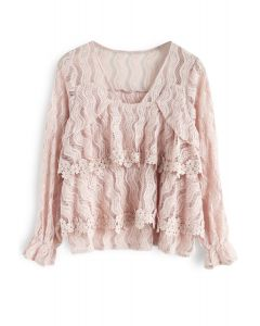 Towards the Sun Lace Tiered Top in Pink