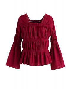 Wild Thoughts Eyelet Embroidery Top in Red