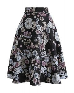 Part of Me Floral Embroidered Jacquard Midi Skirt