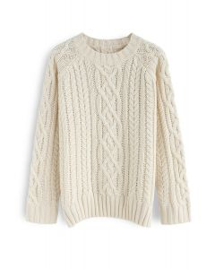 Enthusiast of Leisure Cable Knit Sweater in Cream