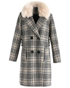 Extra Warm Plaid Wool-Blend Coat with Faux Fur Collar