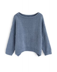 The Other Side of Chunky Hand Knit Sweater in Dusty Blue