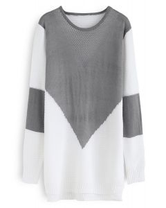 Color Blocking Longline Sweater in Grey