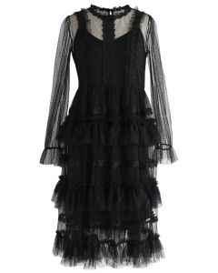Just Dance Tiered Crochet Trimming Mesh Dress in Black