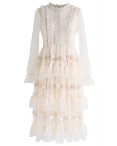 Just Dance Tiered Crochet Trimming Mesh Dress in Cream