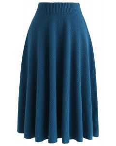 Sunday Afternoon Textured Knit Skirt in Blue