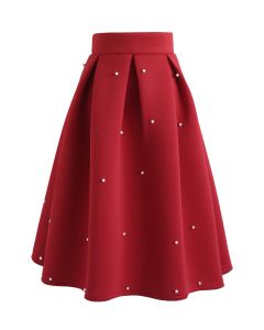 Pearls Bliss Airy Pleated Midi Skirt in Red
