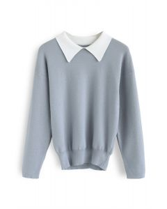 Sunday Wind Knit Top in Blue