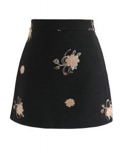 Pleased To Be Bouquet Wool-Blend Mini Skirt in Black