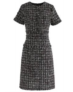 One More Chance Tweed Shift Dress in Black