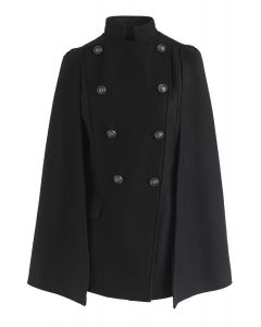 Royal Elegance Double-Breasted Cape Coat in Black