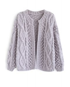 Wintry Morning Cable Knit Cardigan in Lavender