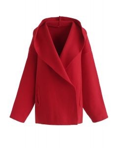 You'll be Safe Here Hooded Knit Cardigan in Red
