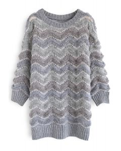 Wavy Stripes Fluffy Longline Sweater