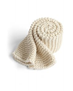 Keeping You Warm Hand Knit Scarf in Ivory