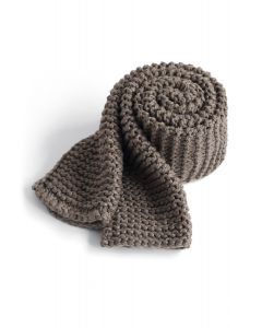 Keeping You Warm Hand Knit Scarf in Taupe