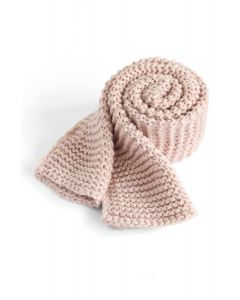 Keeping You Warm Hand Knit Scarf in Pink