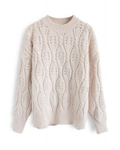 My New Fave Cable Knit Sweater in Ivory