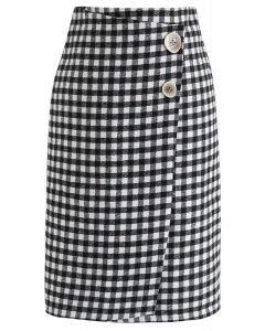Must Pick You Wool-Blended Skirt in Gingham